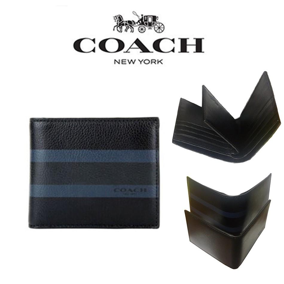 COACH กระเป๋าสตางค์ผู้ชาย/กระเป๋าสตางค์ใบสั้น/กระเป๋าสตางค์บัตร/กระเป๋าสตางค์ใบเปลี่ยน 75086
