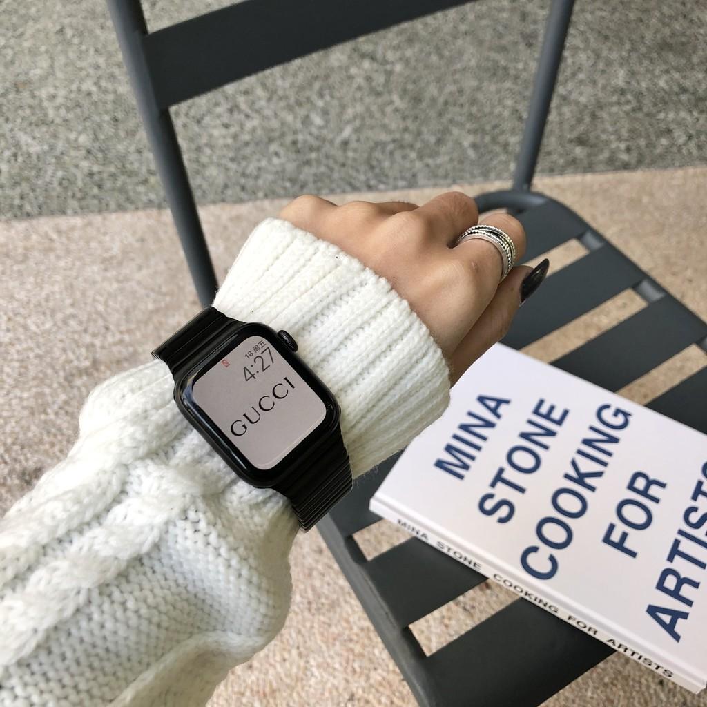 เคสนาฬิกา applewatchบังคับแอปเปิ้ลapplewatchนาฬิกาiwatch6/SE/5/4/3ห่วงโซ่โลหะสแตนเลสสำหรับผู้ชายและผู้หญิงapplewatch