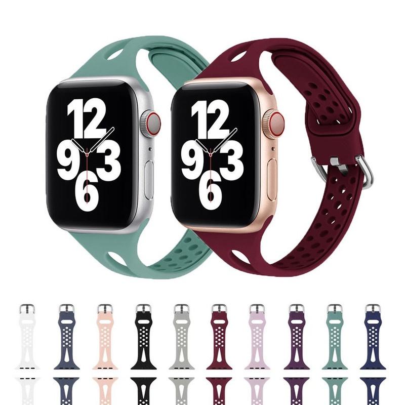 สายนาฬิกาข้อมือซิลิโคนสําหรับ Apple Watch Band 42 มม. 38 มม. 40 มม. 42 มม. iwatch series 6 5 4 3 2 1