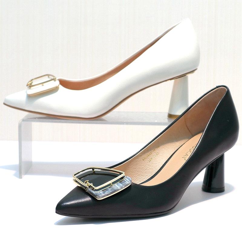 รองเท้าคัชชูหัวแหลม KISSCATจูบแมว2020ฤดูใบไม้ร่วงเคาน์เตอร์ใหม่ของแท้หนากับรองเท้าผู้หญิงหนังแกะแหลมKA10505-14cod 5d2G