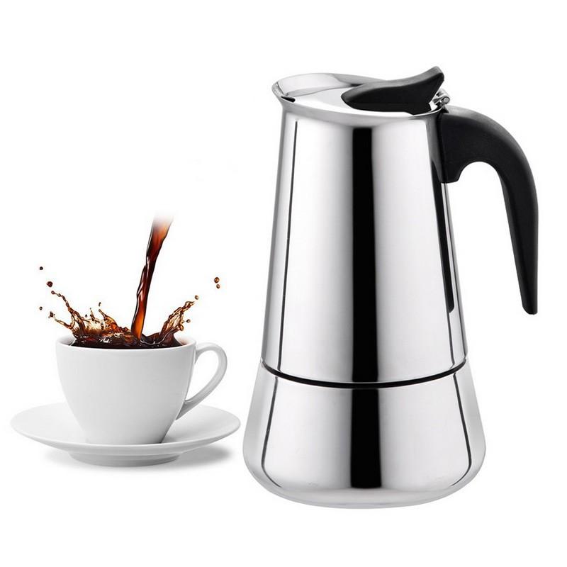 มอคค่าพอท รุ่นสแตนเลส เครื่องทำกาแฟสด กาต้มกาแฟสดแบบพกพาสแตนเลส หม้อต้มกาแฟแบบแรงดัน 300/450ml moka pot kuraudo
