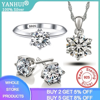 YANHUI 100% Original 925 Sterling Silver Jewelry Set Luxury 1 Carat Lab Diamond Rings Earrings Necklaces Set Wedding