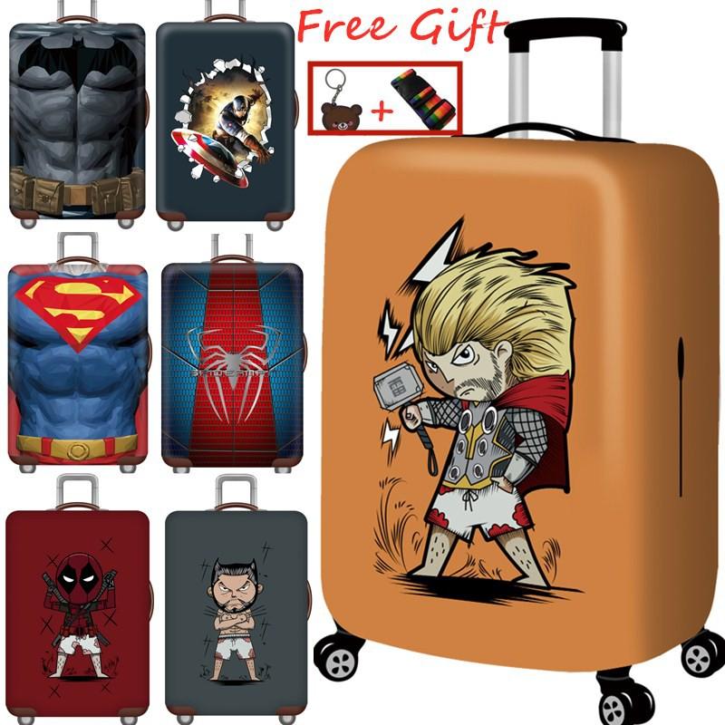 Luggage cover ผ้าคลุมกระเป๋าเดินทาง แบบยืดเพิ่มความหนาหู ใหม่ รูปแบบการ์ตูน Super Hero 20/24/28/30 Inch