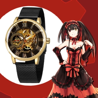 Review Anime DATE A LIVE Tokisaki Kurumi Waterproof Hollow Steel Manual Mechanical Watch