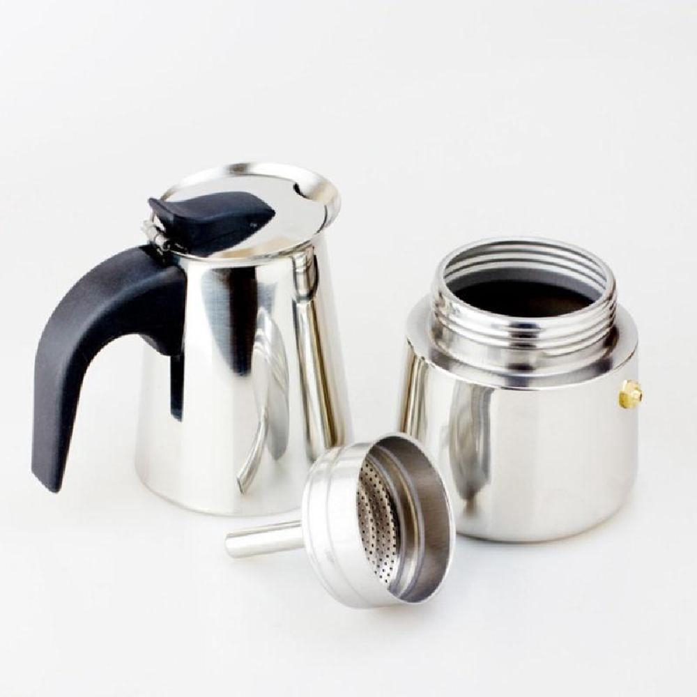 100/200/300มล กาต้มกาแฟสดสแตนเลส สีเงิน เครื่องชงกาแฟสด แบบปิคนิคพกพา ใช้ทำกาแฟสดทานได้ทุกที