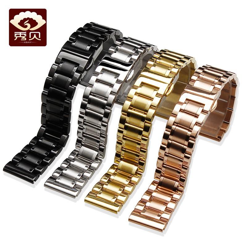 🔥เมาส์🔥 Xiubei นาฬิกาผู้ชายเข็มขัดเหล็กและสายสแตนเลสโลหะผีเสื้อหัวเข็มขัด Casio Tianwang สร้อยข้อมือสแตนเลส 20mm