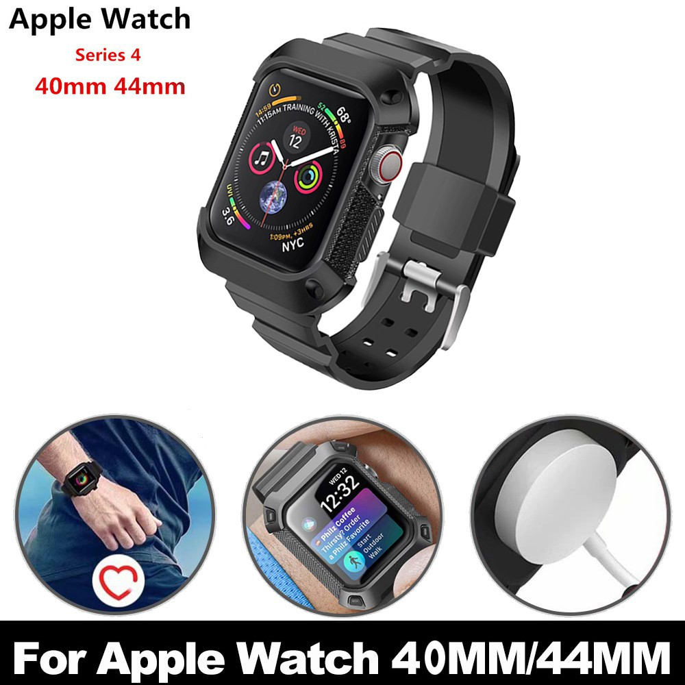 ♞๑Apple Watch 40mm 44mm Rugged Protective Case with Strap Bands for iWatch Series 4 watchband