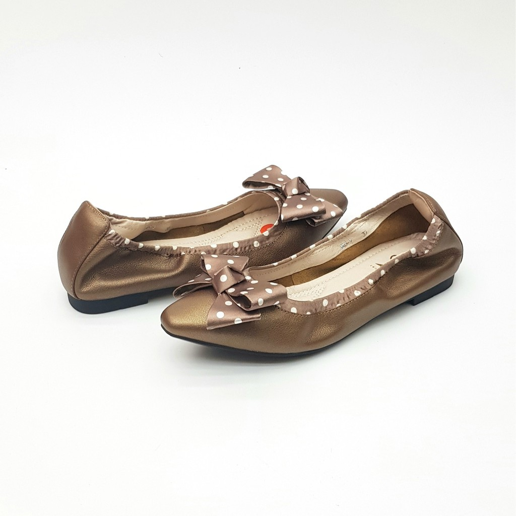 Zenachoo  รองเท้าคัชชูหัวแหลม หนังแกะแท้ Bow Dot สีบรอนซ์