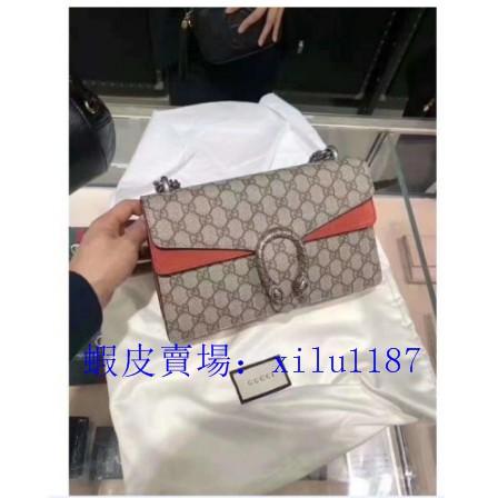 ของแท้ Gucci Dionysus GG ชุดกลางโซ่กระเป๋าสะพายกระเป๋า messenger ในสต็อก