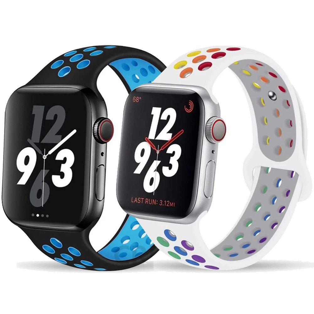 HW12 Nike Strap for Apple watch band 38mm/40mm iWatch band  Silicone watchband bracelet for Apple watch series 6 5 4