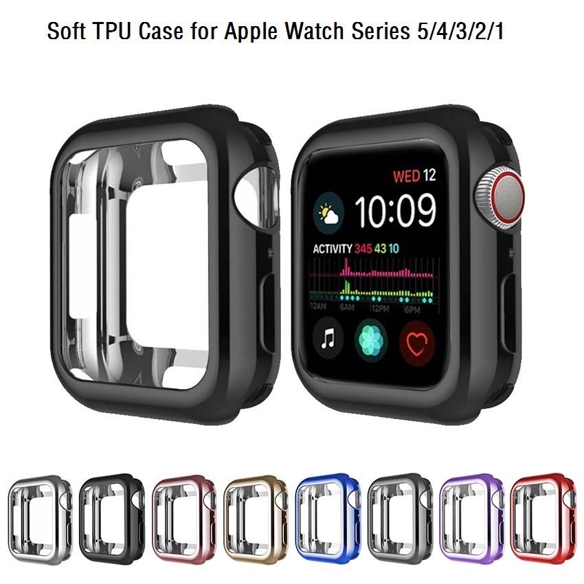 เคส Apple Watch Case 38mm 40mm 42mm 44mm Soft TPU Plated Cover สำหรับ iWatch Series SE 6/5/4/3/2/1