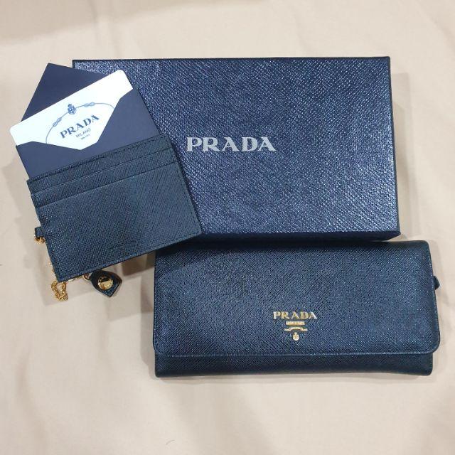 กระเป๋าตังค์ Prada saffiano metal สี nero(ดำ) มือสองของแท้100%