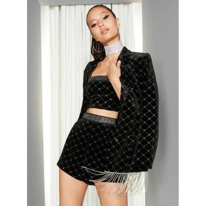 [ลิขสิทธิ์แท้] Milin x Pomelo Velvet Diamante Fringe Blazer Crop Shorts Black