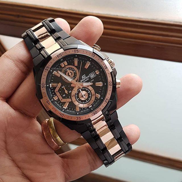 ของแท้100% ประกันCMG ) Casio นาฬิกาข้อมือชาย สายสแตนเลส รุ่นEFR-539BKG-1AV - Black/Rosegold รับประกัน 1 ปี pUr9