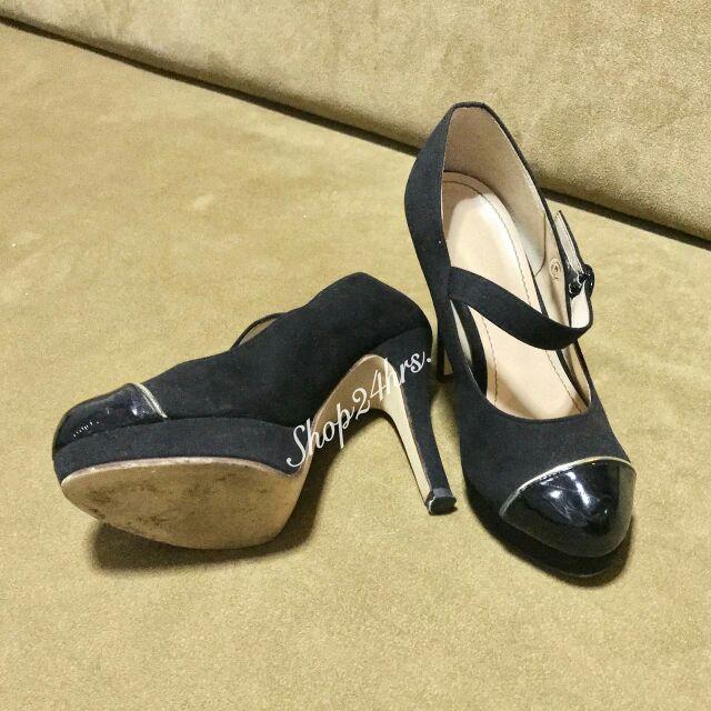 🥈🥈🥈มือ2 รองเท้าคัชชู สีดำ ผ้ากำมะหยี่ หัวหนังแก้ว