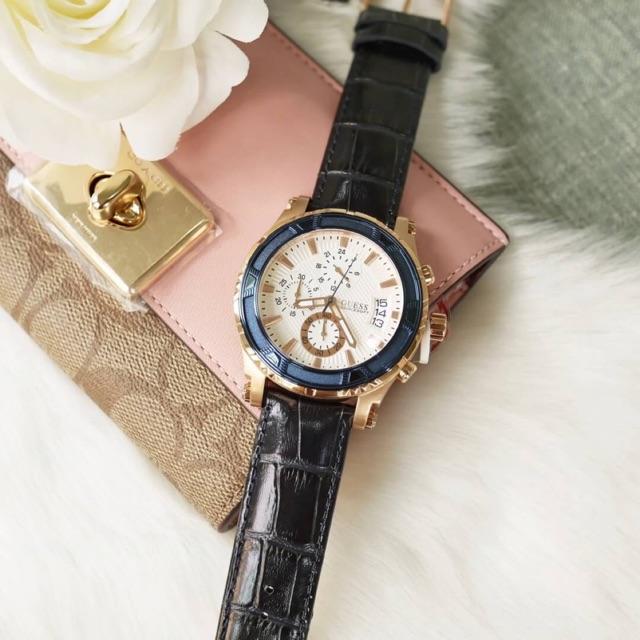 ผ่อน0⭐️ผ่อน0% 10ด⭐️ส่งฟรีไม่ใช้Code. นาฬิกาข้อมือชาย Guess Mens Guess Pinnacle Chronograph Watch W0673G6