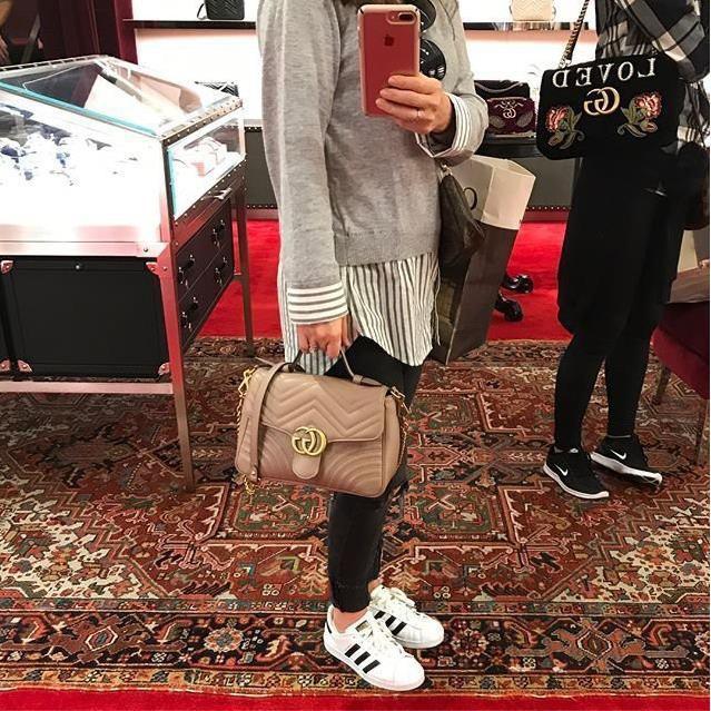 [HQ]เคาน์เตอร์แท้ Gucci GG Marmont กระเป๋าใบเล็กหูหิ้วใบเล็ก 498110 สีชมพูนู้ด