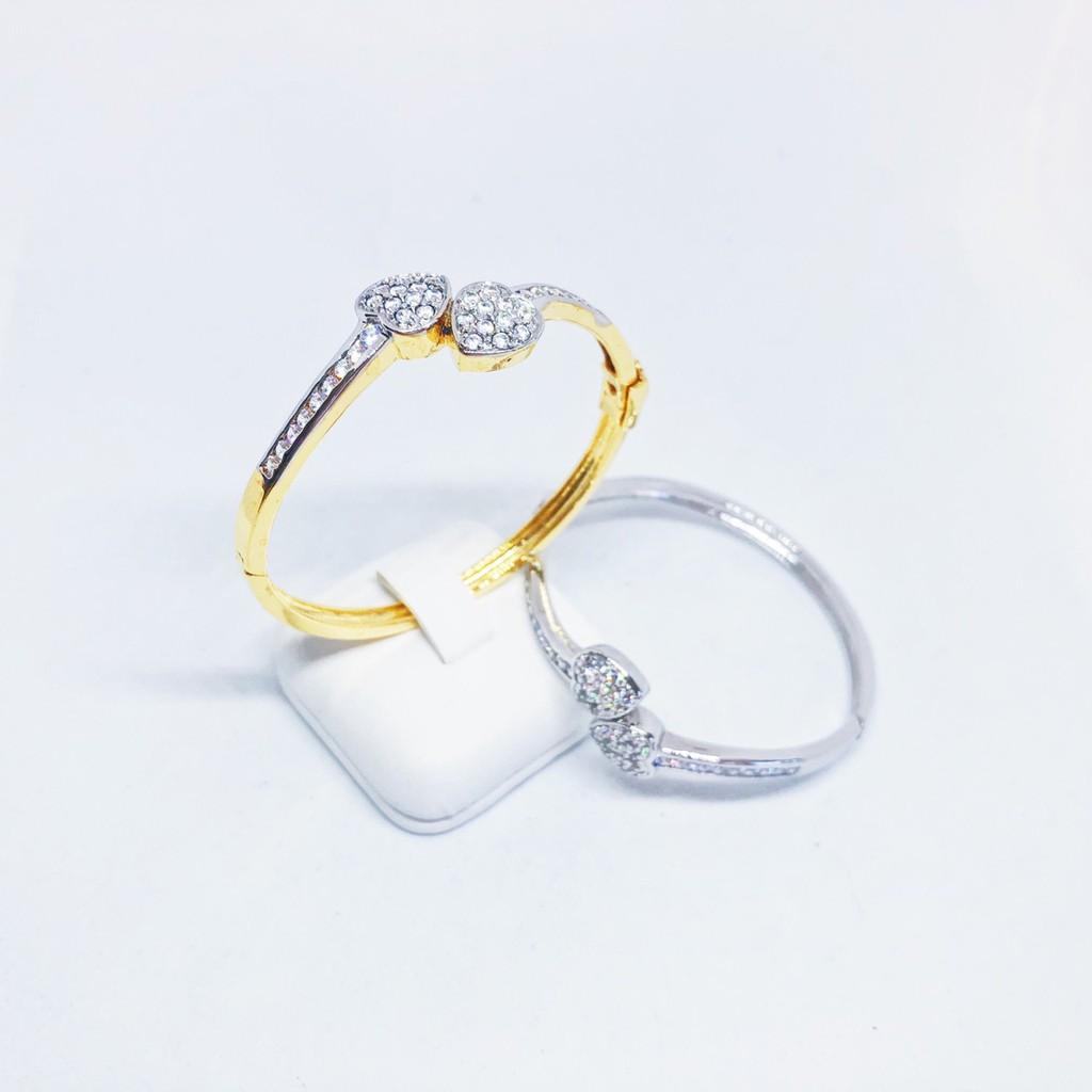 กำไลผู้หญิง เพชร cz หัวใจคู่ ความรักยืนยาว เคลือบทองไมครอน และทองคำขาว ราคาพิเศษ