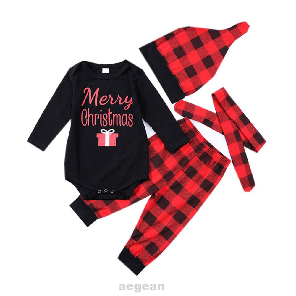 2PCs Baby Deer Print Hoodies with Pocket Top Striped Long Pants Autumn Outfit Set