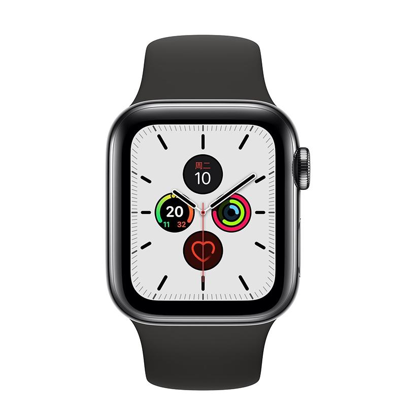 Apple Watch Series 5 ตัวเรือนสแตนเลสสีดำห้วงอวกาศสายกีฬาสีดำ