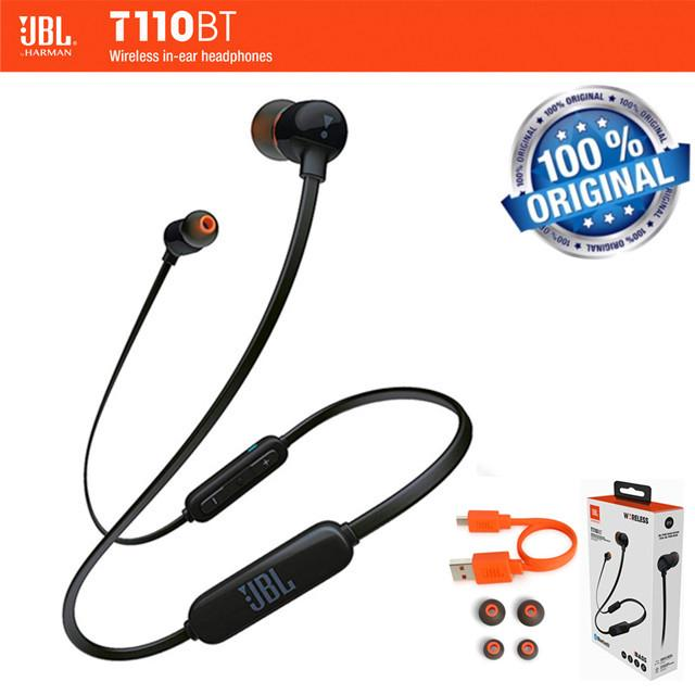 ชุดหูฟังบลูทู ธ ไร้สาย Original JBL T110BT Wireless Bluetooth In-Ear Earphone Sport Bass Sound Headphone Earbud