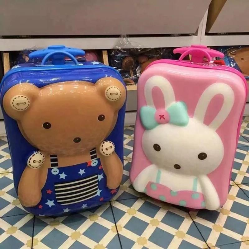 ☠@เกาหลีใต้ Winghouse กระเป๋าเดินทางเด็กสาวเด็กรถเข็นกระเป๋าเดินทางเด็ก 15 นิ้วกระเป๋าเดินทางการ์ตูน