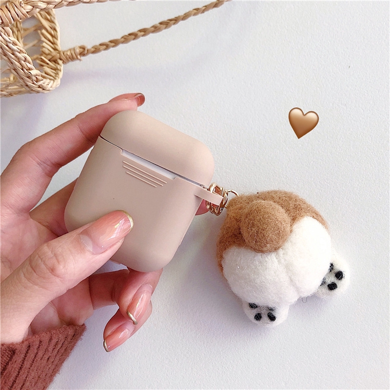 Cute Corgi AirPods 3 Case Silicone AirPods Pro Case With Key Chain Pendant Airpods 1/2 Case