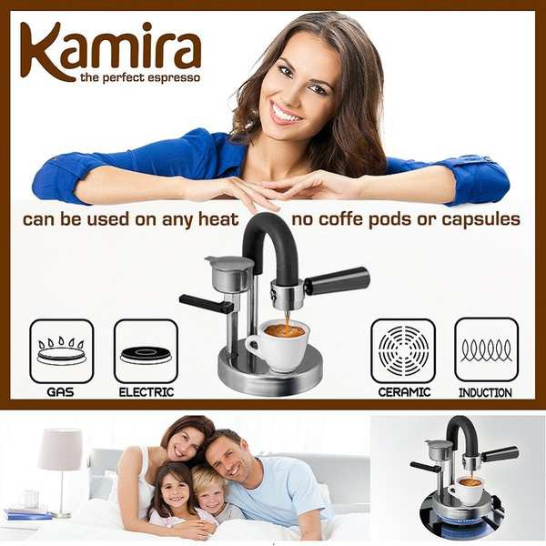 Moka Pot หม้อต้มกาแฟ กาต้มกาแฟ เครื่องชงกาแฟ มอคค่าพอท อิตาลี Kamira หม้อกาแฟโฮมออฟฟิศสแตนเลส, เครื่องชงกาแฟที่ทำด้วยมือ