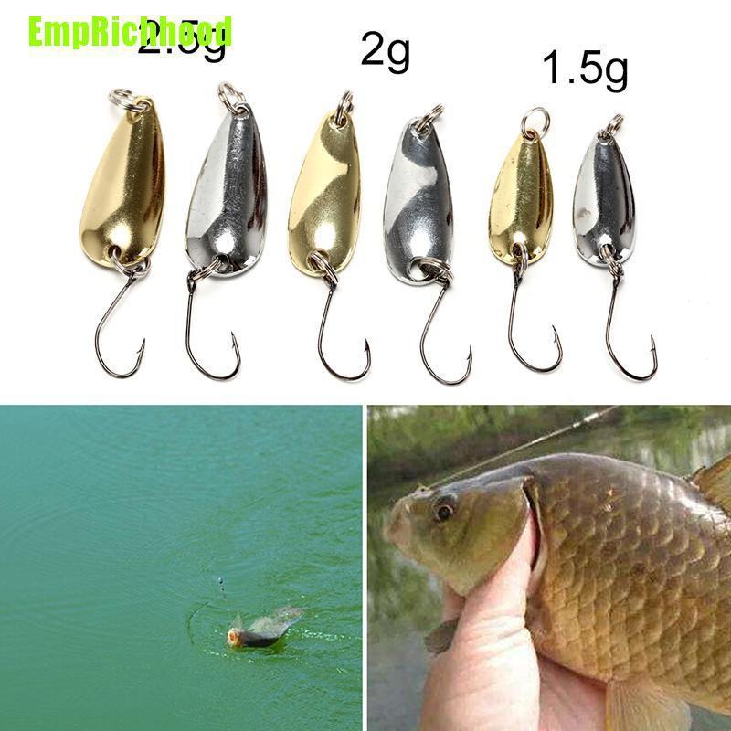 อุปกรณ์ตกปลาเหยื่อตะขอตกปลาแบบโลหะ 1 ชิ้น 1 . 5/2/2 . 5 กรัมสีทอง/เงิน