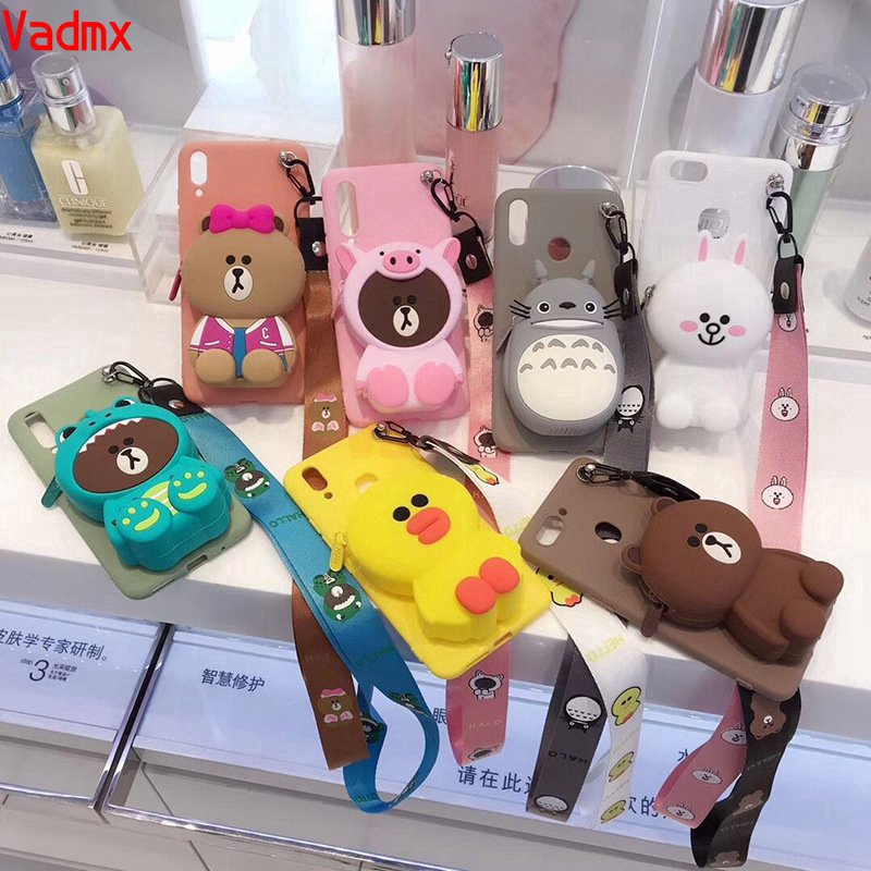 Korea Cute Cartoon Case Samsung Galaxy A7 A9 J8 A6+ Plus A6 A8 2018 A9 Pro Back Cover 3D Bear Wallet Soft Silicone Cover
