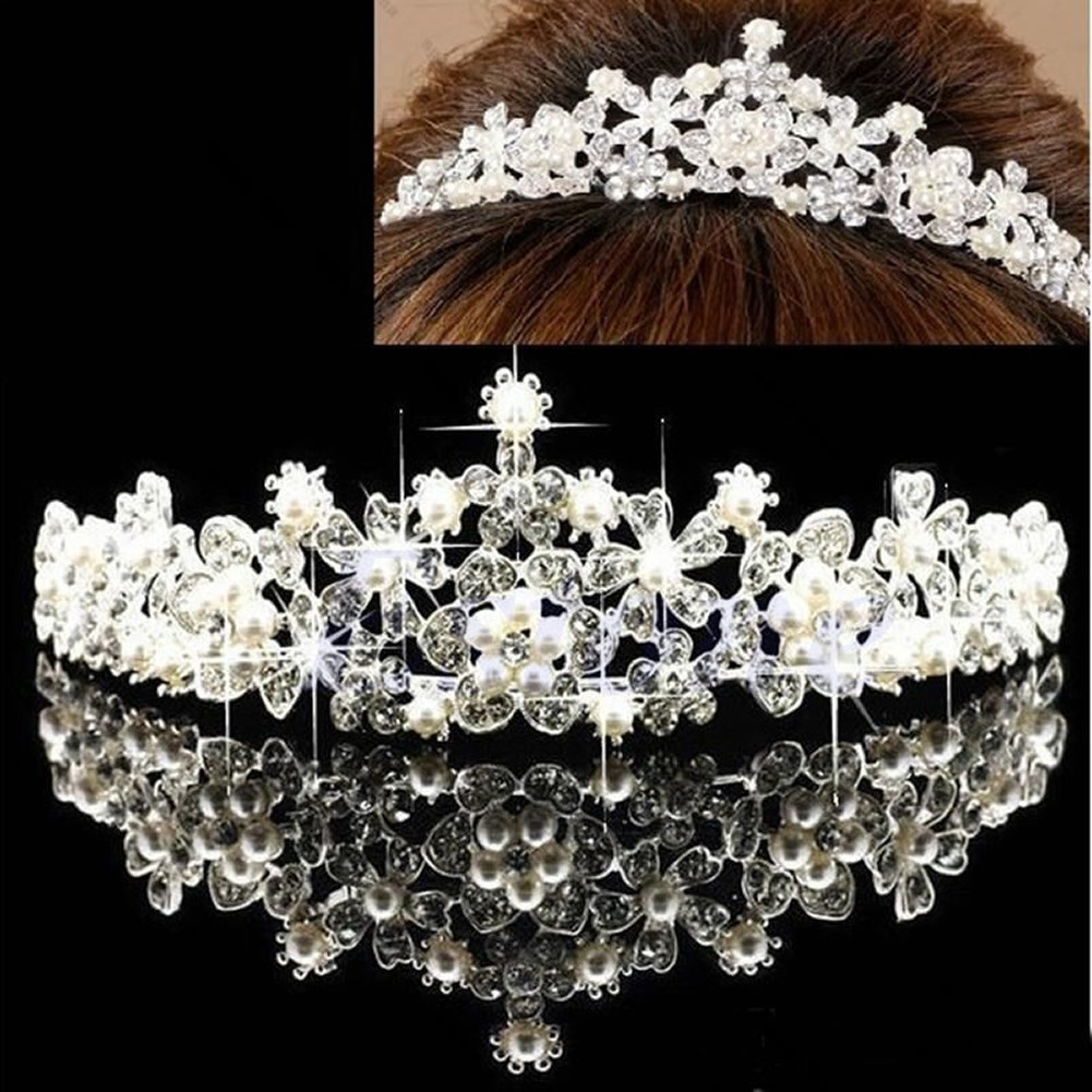 Silver Austrian Crystal White Pearl or Gold Ivory Pageant Wedding Bridal Tiara