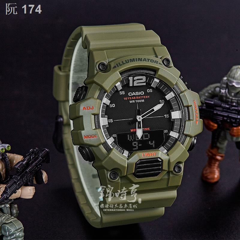 ♦✽✙ส่งตรงฮ่องกง Casio นักเรียนชายนาฬิกาเทรนด์แสดงผลคู่นาฬิกากีฬากันน้ำ HDC-700-3A2