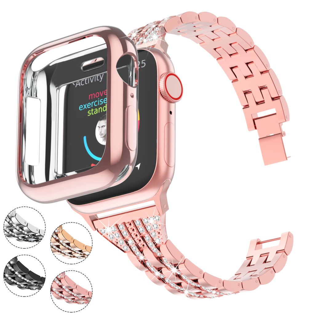 Apple watch strap stainless steel with diamonds+case 38mm 40mm 42mm 44mm,Luxurious Apple Watch Strap iwatch Series 1/2/3