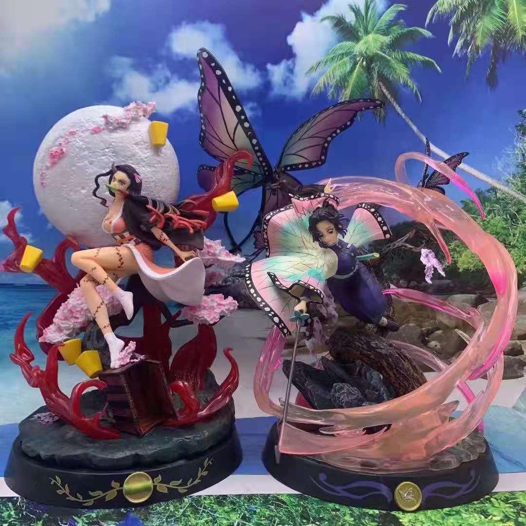 36cm Demon Slayer GK Demon Transformation Kamado Nezuko Kochou Shinobu GK Anime Action Figure Model Statue Collection Toy gift