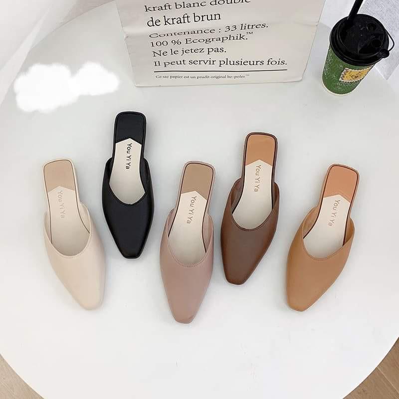 ﹍♟รองเท้าผู้หญิงแฟชั่นมี5สี รองเท้าคัชชู ปิดหัวเปิดส้น🚫แนะนำเพิ่ม2ไซส์🚫พื้นแบนนิ่มสวมใส่สบาย