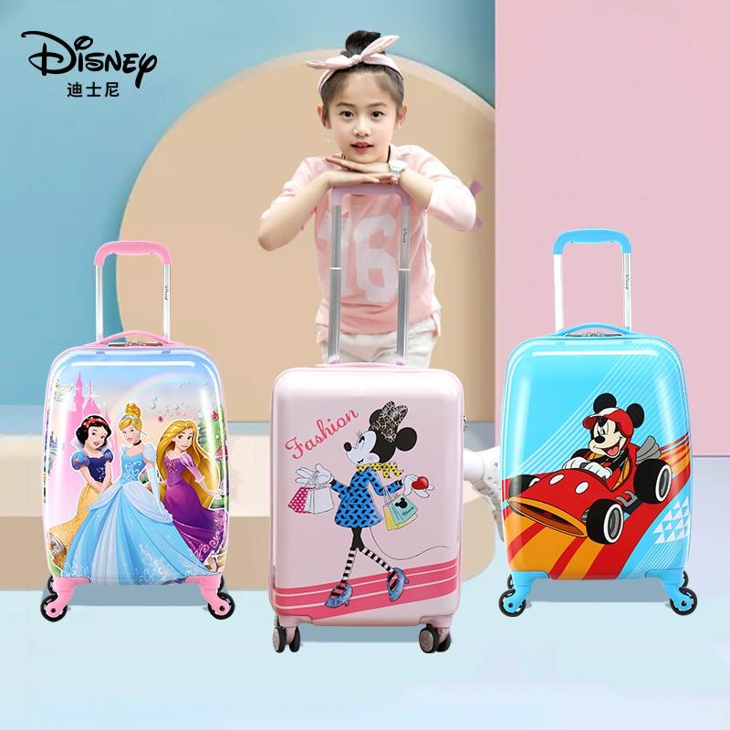 กระเป๋าเดินทางของเด็ก Disney สามารถติดตั้งบนรถเข็นกระเป๋าเดินทางกระเป๋าเดินทางเจ้าหญิงสมบัติหญิงเดินทางเด็กการ์ตูน 20 น