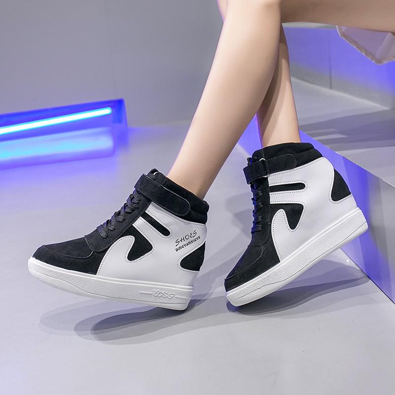 4+3.5cm รองเท้าส้นตึกและส้นเตารีด รองเท้าผ้าใบแบบเสริมส้น รองเท้าคัชชูแฟชั่น รองเท้าผู้หญิง