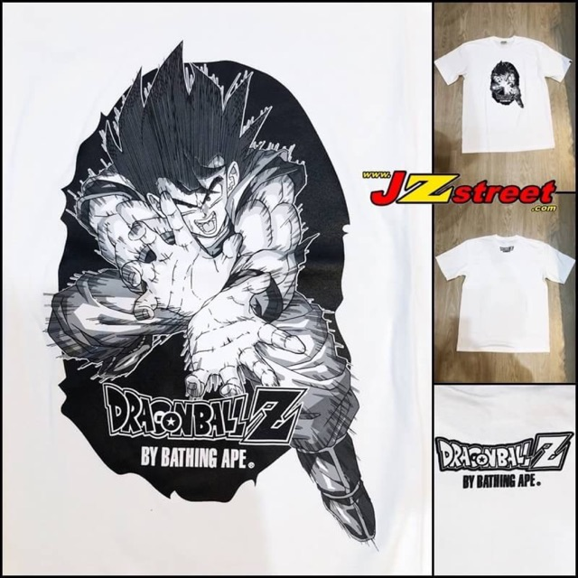 เสื้อยืด A BATHING APE x Dragonball Z สีขาว รหัสสินค้า APE-75 มี size S , M , L , XL , XXL