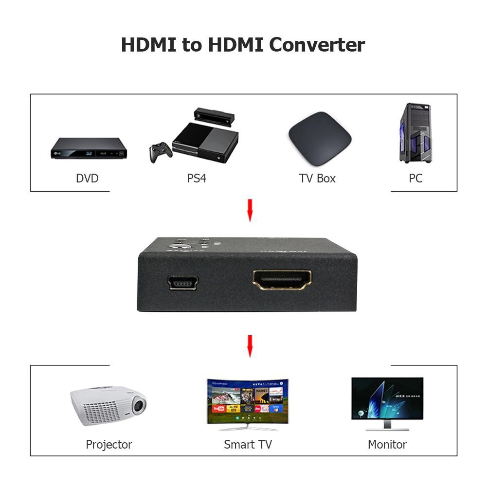 ☆Fe☆HDMI 18Gbps Repeater with 4K Up and Down Scaling Audio Scaler 1080P  Micro Converter