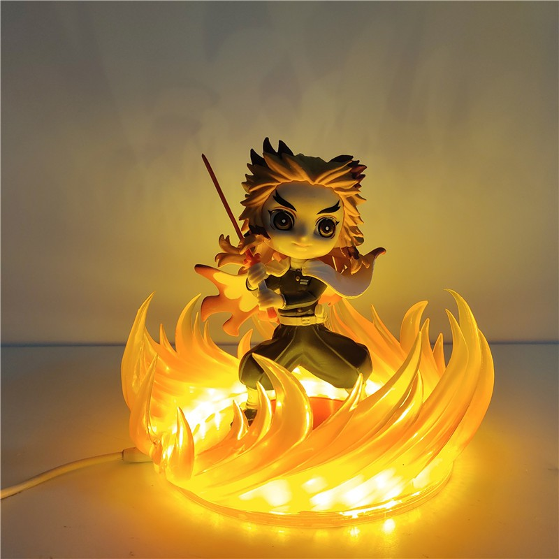 Anime Demon Slayer Figure Kimetsu no Yaiba Rengoku Kyoujurou DIY Model Fire Effect VC Model Action Anime Figuras Demon S
