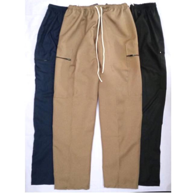 กางเกงขายาวคนแก่ ผู้ชาย เอวยางยืด กางเกงผู้ใหญ่ ผ้าโซล่อน