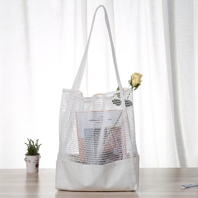 CU ฤดูร้อนสไตล์ใหม่สไตล์เกาหลีสไตล์กระเป๋าถือกระเป๋าตาข่าย Hollow out กระเป๋าชายหาดผ้าใบเดี่ยวไหล่กระเป๋าผู้หญิงกระเป๋า