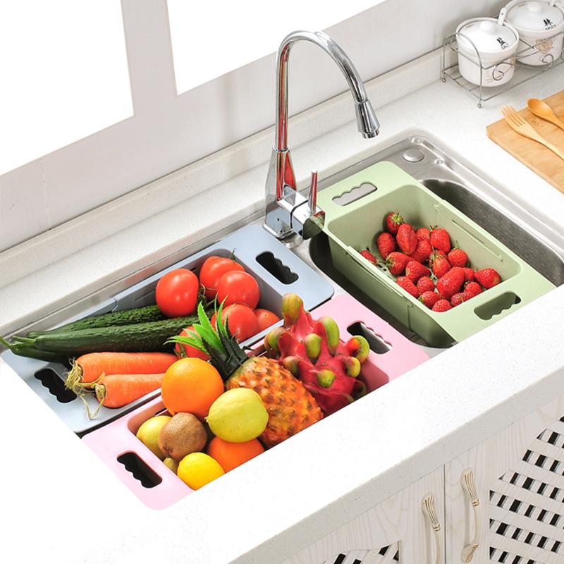 ยืดไสลด์รางระบายน้ำชั้นวางอ่างล้างหน้าตะกร้าตะกร้าห้องครัวชามหดน้ำยาล้างจานใส่จานสระว่ายน้ำเก็บผัก
