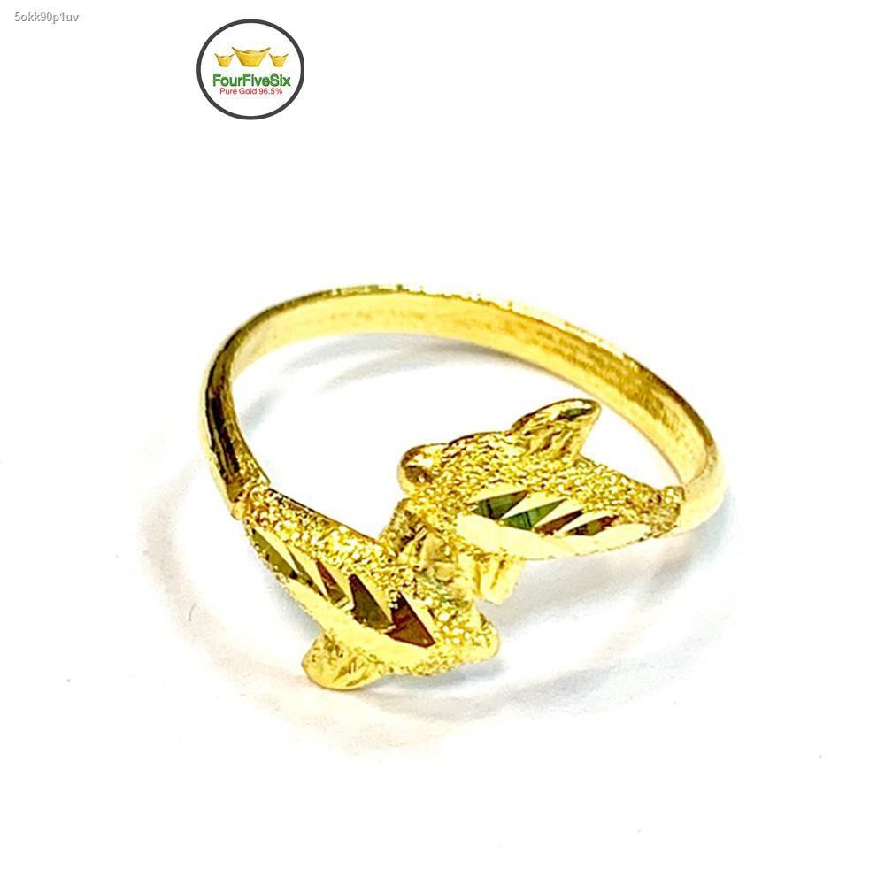 ราคาต่ำสุด◑FFS แหวนทองครึ่งสลึง โลมาคู่ หนัก 1.9 กรัม ทองคำแท้96.5%