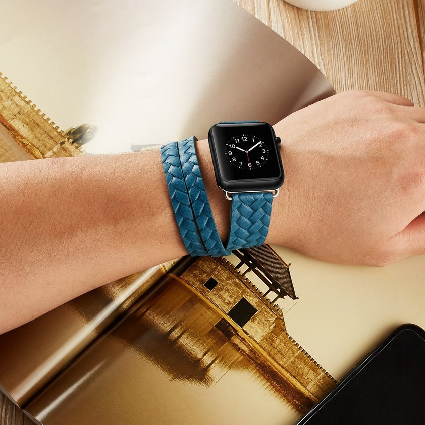 หนังวัวสองห่วง ลายนูนแฟชั่น apple watch strap สายนาฬิกาข้อมือ iwatch series SE 6 5 4 3 2 1  สาย applewatch 38 40 42 44mm