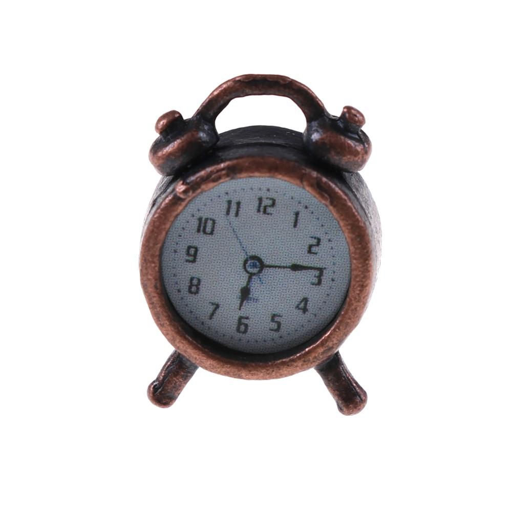 Miniature Living Room A Metal Alarm Clock Bronze for 1//12 Dollhouse Accessory
