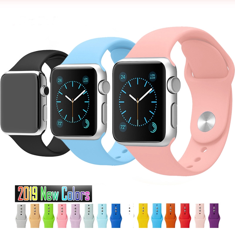 Soft Silicone Strap Apple Watch Band Series 6 SE 5 4 3 2 1 38mm 40mm 42mm 44mm Rubber Watchband Sports iWatch Bracelet
