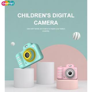 ✨✨【In stock】 Children's Camera Face Recognition Time-lapse Photo Ultra-clear Screen Digital Dual Lens Camera Dexi