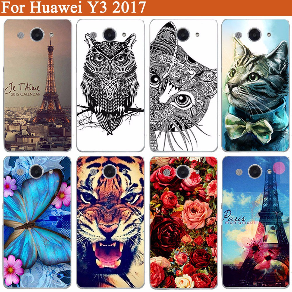 """Painted Soft Tpu Cover For Huawei Y3 2017 CRO-L22 CRO-L02 CRO-L03 5.0"""" Cases"""