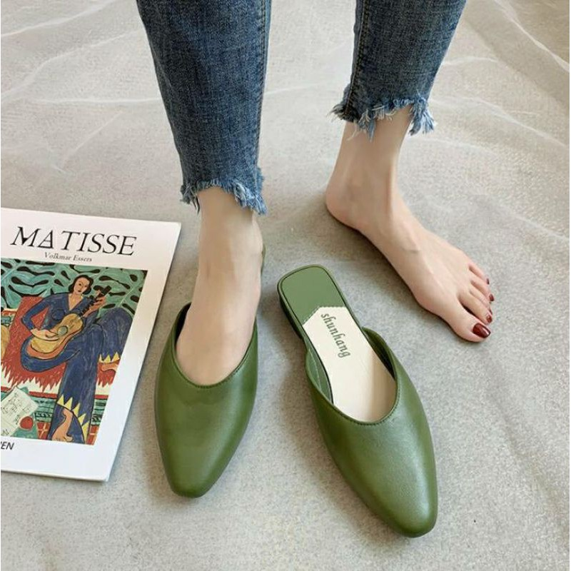 รองเท้าส้นสูงไซส์ใหญ่。 รองเท้าส้นสูงมือสอง。 รองเท้าคัชชู รองเท้าคัชชูหัวแหลมเปิดส้น รองเท้าผู้หญิงแฟชั่น (Cutsu02)